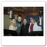 Heather with John Bolton, Jeff Gurner, and writer Gregg Coffin recording the cast album