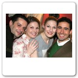 Joe Calarco, Heather, Becca, and John Lloyd Young (© Bruce Glikas, broadway.com)